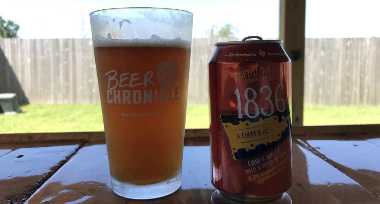 Beer-Chronicle-Houston-Craft-Beer-Review-Buffalo-Bayou-1836-Beer-In-Pint-Glass-Next-To-Can