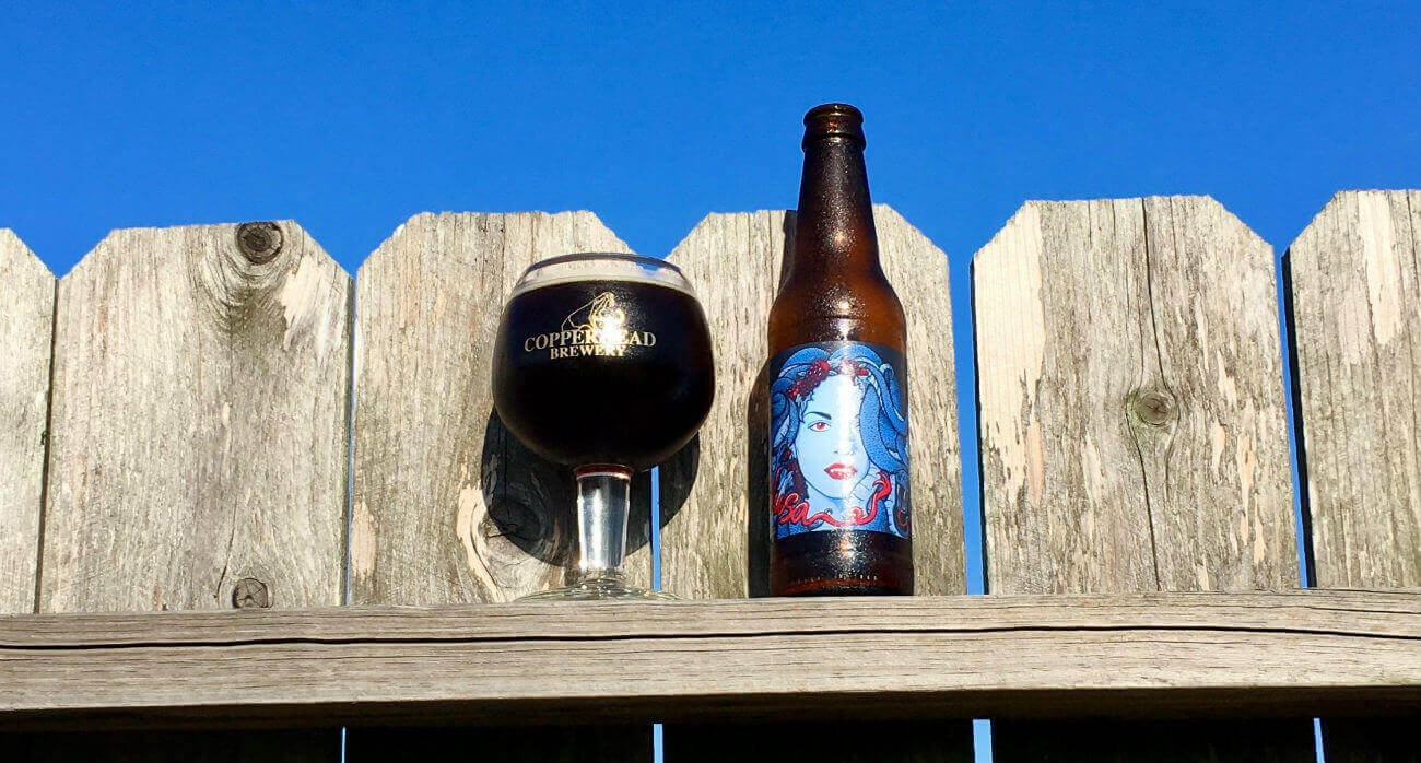 Beer-Chronicle-Houston-Craft-Beer-Review-Copperhead-Medusa-Full-Goblet-Next-To-Bottle
