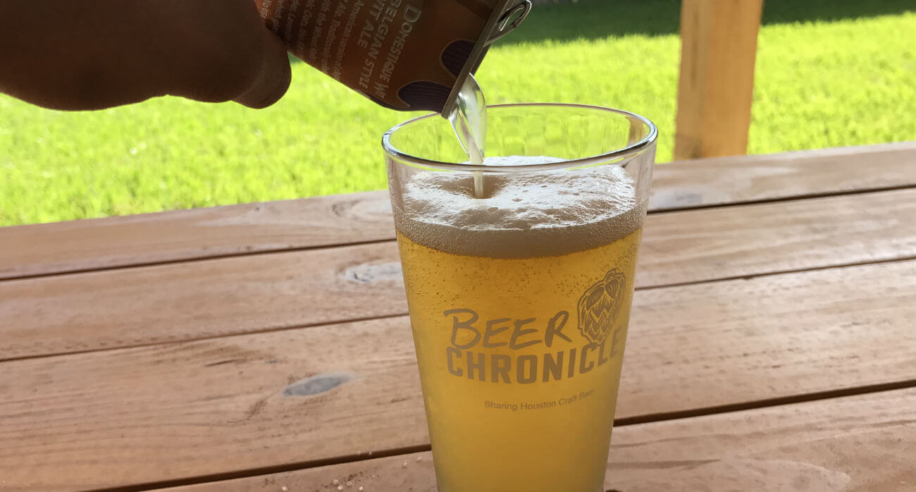 Beer-Chronicle-Houston-Craft-Beer-Review-Domestique-Wit-Being-Poured-Into-Beer-Chronicle-Glass