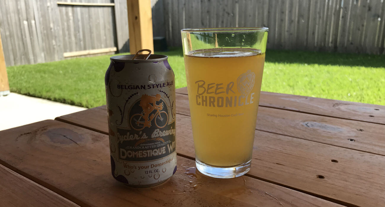 Beer-Chronicle-Houston-Craft-Beer-Review-Domestique-Wit-Can-With-Beer-Glass-Side-By-Side