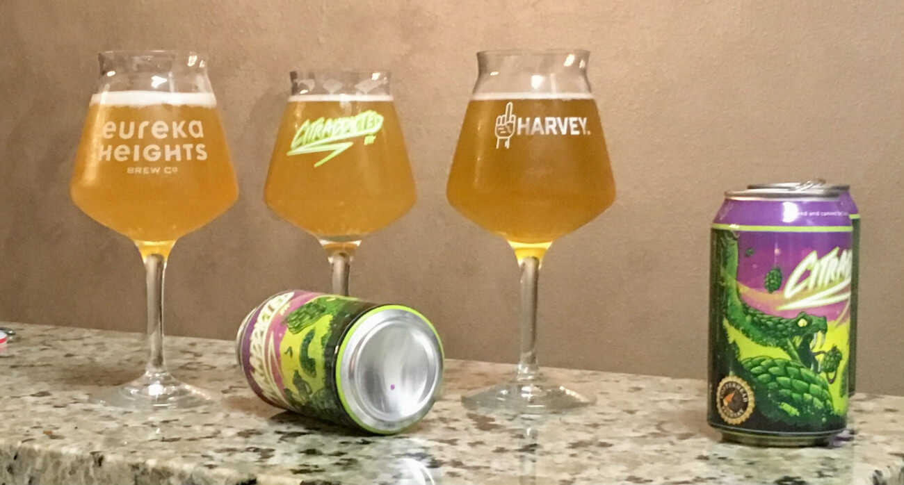 Beer-Chronicle-Houston-Craft-Beer-Where-Did-My-Haze-Go-Glasses-Lined-Up-With-Cans-On-Counter