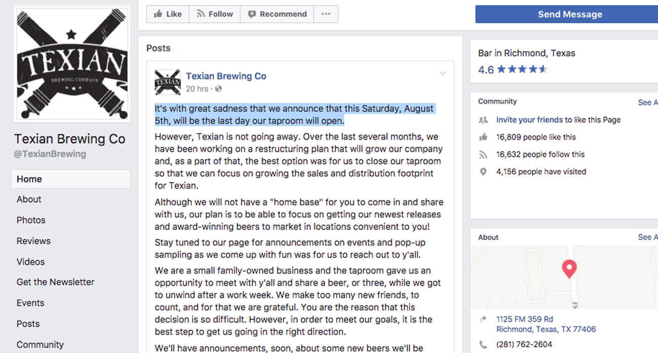 Beer-Chronicle-Houston-Craft-Beer-texian-tap-room-closing-facebook