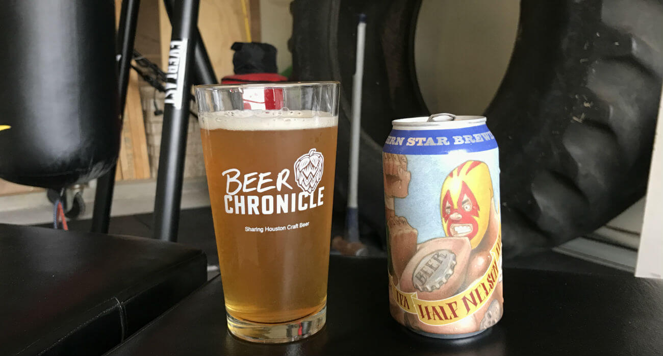 Houston-Beer-Chronicle-Craft-Beer-Review-Half-Nelson-IPA-Beer-In-Pint-Glass-Next-To-Can